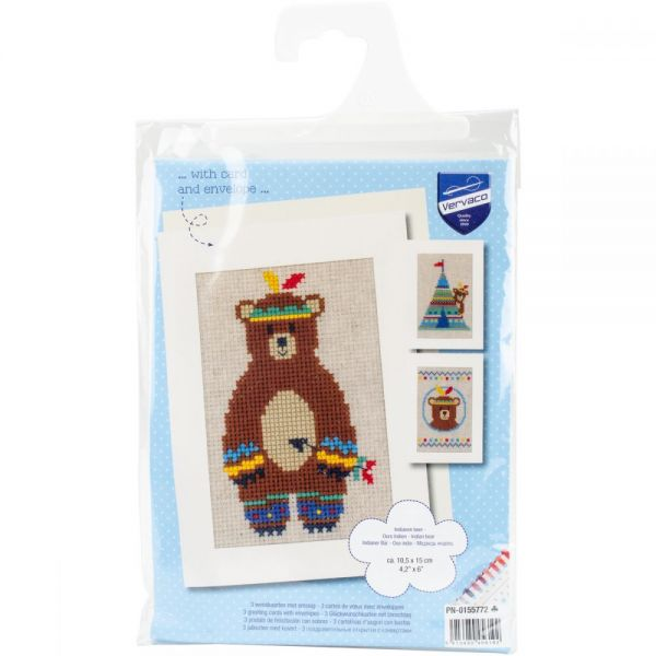 Vervaco Indian Bear Greeting Cards Counted Cross Stitch Kit