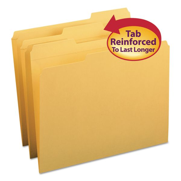 Smead File Folders, 1/3 Cut, Reinforced Top Tab, Letter, Goldenrod, 100/Box