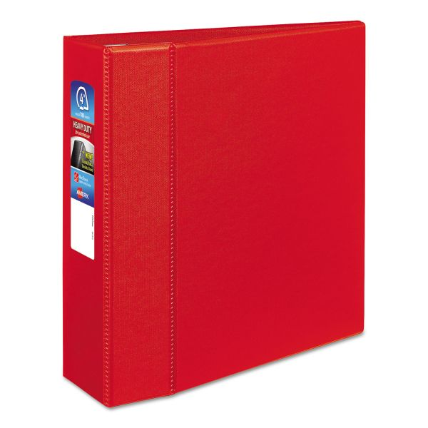 "Avery Heavy-Duty 3-Ring Binder with One Touch EZD Rings, 4"" Capacity, Red"