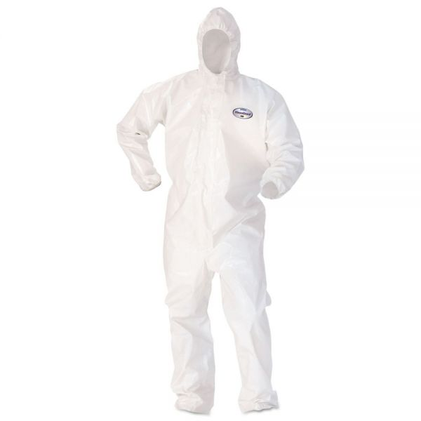 KleenGuard* A80 Coveralls w/Head/Foot Covering, Saranex 23-P/Cloth, 4XL, White, 10/Carton
