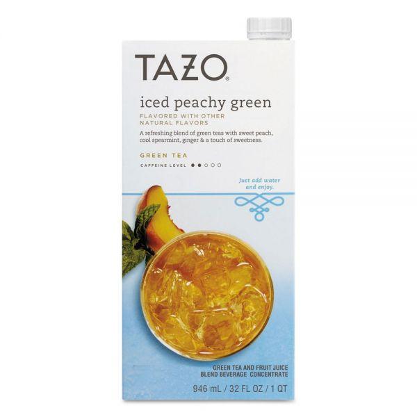Tazo Iced Tea Concentrate, Iced Peachy Green, 32 oz Tetra Pak