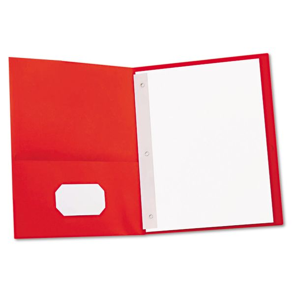 Universal Red Two Pocket Folders with Fasteners