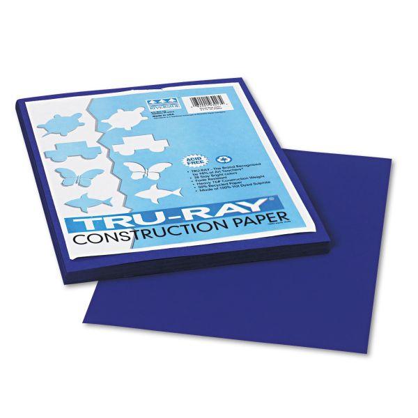 Pacon Tru-Ray Construction Paper, 76 lbs., 9 x 12, Royal Blue, 50 Sheets/Pack