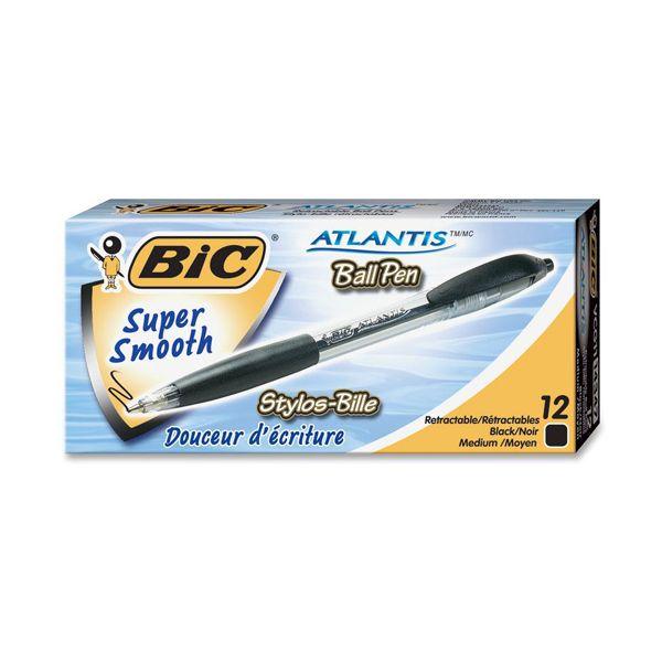 BIC Atlantis Original Retractable Ballpoint Pen, Black Ink, Medium, 1mm, Dozen