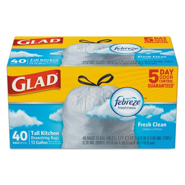 Glad OdorShield Kitchen Drawstring Bags, Fresh Clean, 13 gal, White, 40/BX, 6 BX/CT