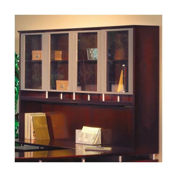 Tiffany Industries Napoli Veneer Hutch with Glass Doors, 72w x 24d x 50-1/2h, Mahogany
