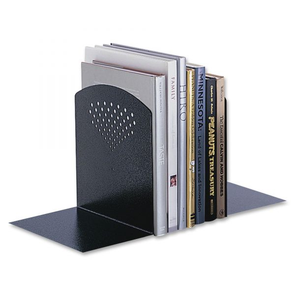 Safco Jumbo Bookends with Standard Base, 10 x 6-1/2 x 10-1/2, Steel, Black