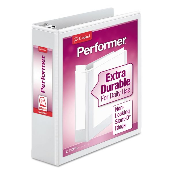 "Cardinal Performer ClearVue 3-Ring View Binder, 2"" Capacity, Slant-D Ring, White"