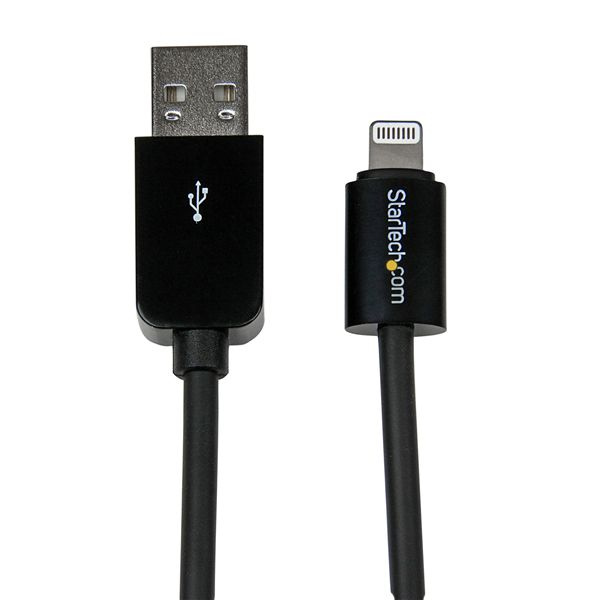 StarTech.com 2m (6ft) Long Black Apple 8-pin Lightning Connector to USB Cable for iPhone / iPod / iPad
