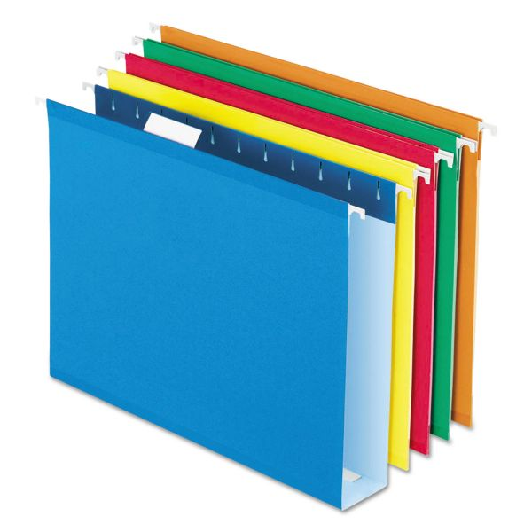 "Pendaflex Reinforced 2"" Extra Capacity Hanging Folders, 1/5 Tab, Letter, Assorted, 25/Box"