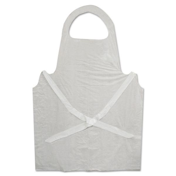 Boardwalk Disposable Apron, White, Poly, 28 x 45, 1.25 mil, One Size, 100/Pk