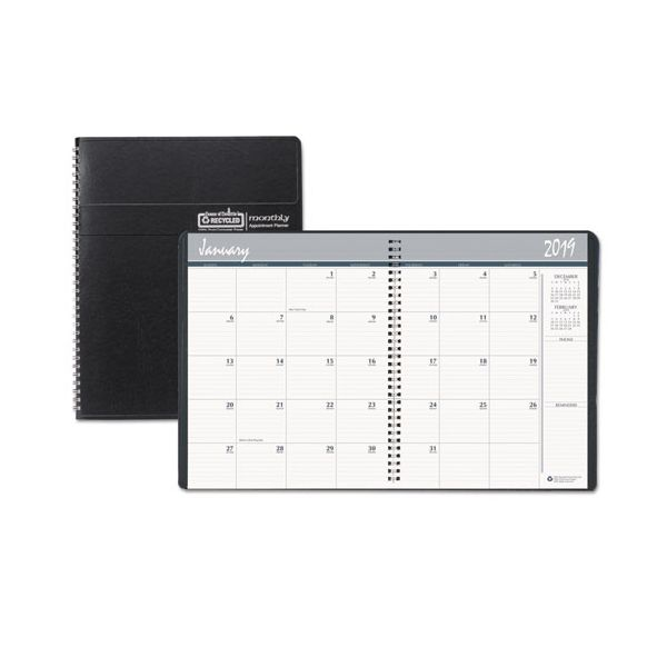 House of Doolittle Recycled Ruled Monthly Planner, 14-Month Dec.-Jan., 8 1/2 x 11, Black, 2018-2020
