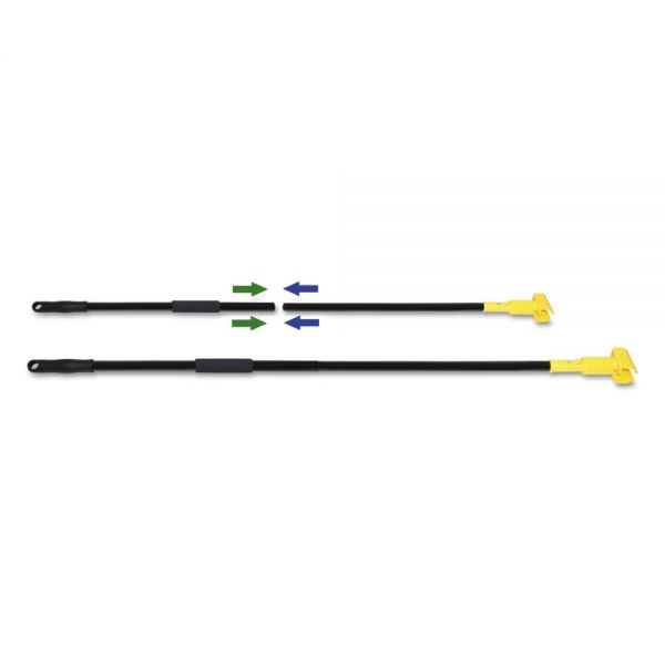 "Boardwalk Two-Piece Metal Handle with Plastic Jaw Head, 59"" Handle, Black/Yellow"