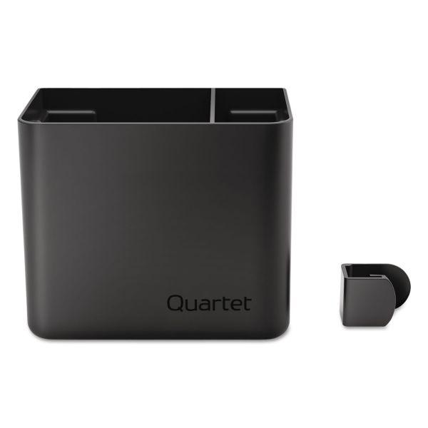 Quartet Prestige 2 Connects Accessory Storage Cup, 2-Comp, 5 x 3 x 4, Plastic, Black