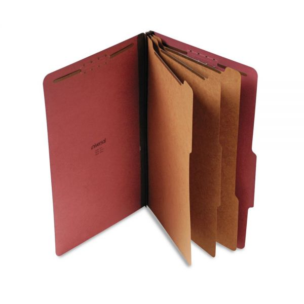 Universal Pressboard Classification Folder, Legal, Eight-Section, Red, 10/Box