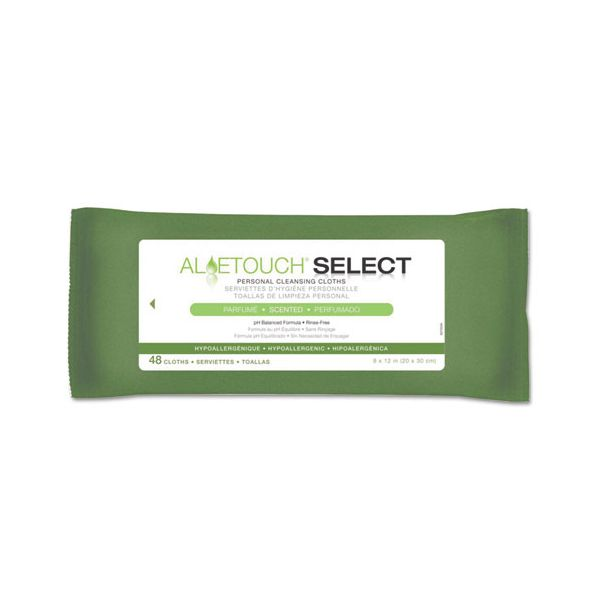 Medline Aloetouch Select Premium Personal Cleansing Wipes, 8 x 12, 48/Pack