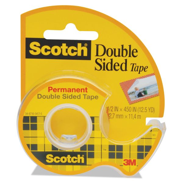 """Scotch 665 Double-Sided Permanent Tape w/Hand Dispenser, 1/2"""" x 450"""", Clear"""