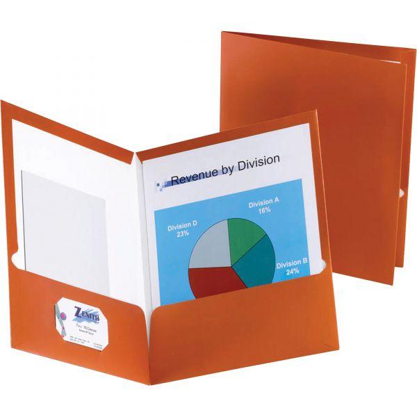 Oxford Two-Pocket Laminated Paper Folder, 100-Sheet Capacity, Metallic Copper