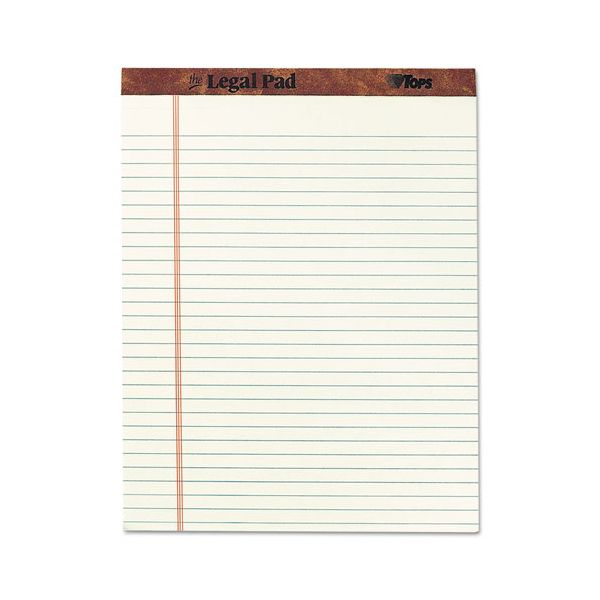 """TOPS """"The Legal Pad"""" Ruled Pads, Legal/Wide, 8 1/2 x 11 3/4, Green Tint, 50 Sheets"""