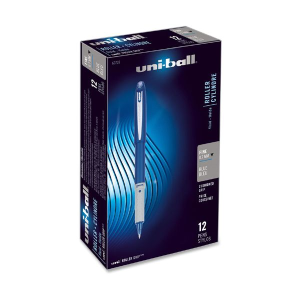 uni-ball Grip Roller Ball Pen, Blue Ink, Fine, Dozen