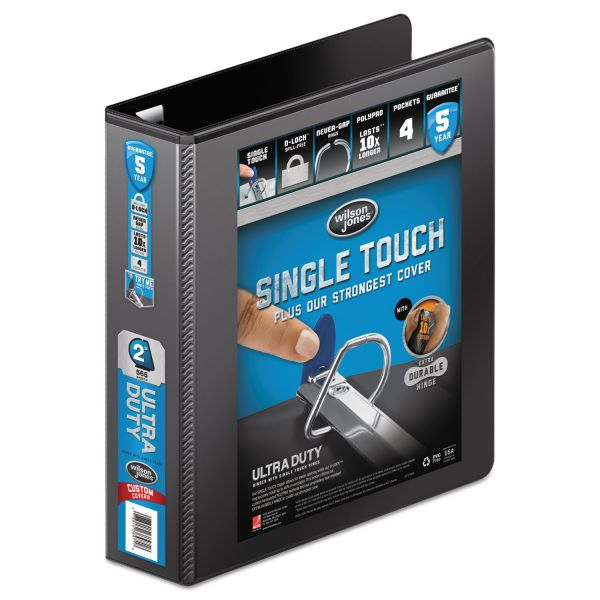 "Wilson Jones Ultra Duty 3-Ring View Binder w/Extra-Durable Hinge, 2"" Capacity, D-Ring, Black"