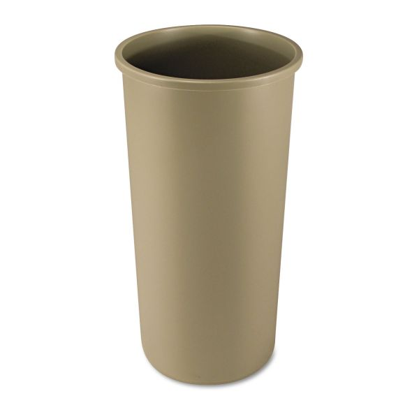 Rubbermaid Commercial Untouchable Waste Container, Round, Plastic, 22gal, Beige