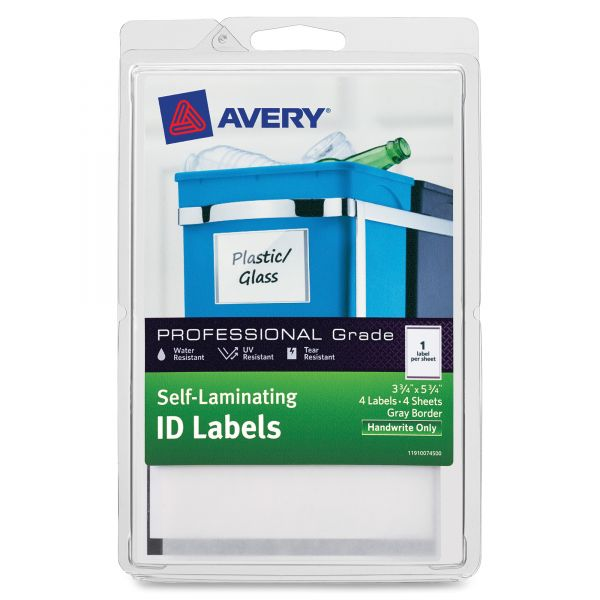 Avery Self-Laminating ID Labels, 4 x 6 Sheet, 5 3/4 x 3 3/4, White/Gray, 4/PK