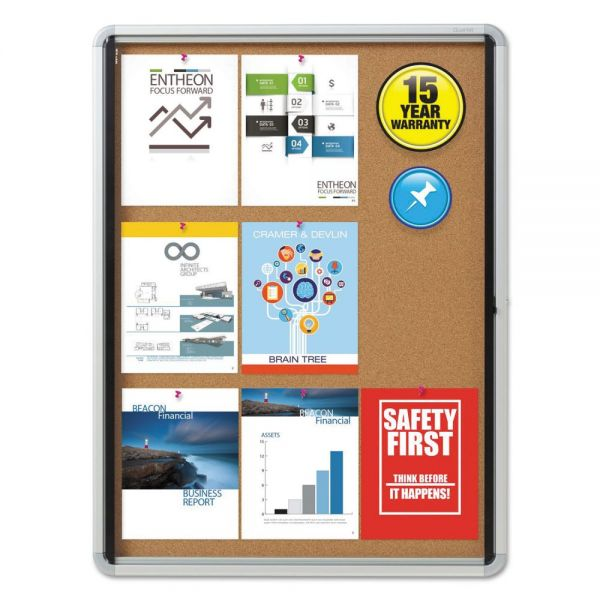 Quartet Enclosed Cork Bulletin Board w/Swing Door, 30 x 39, Silver Aluminum Frame