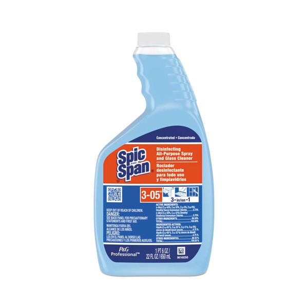Spic and Span Disinfecting All-Purpose Spray & Glass Cleaner, Concentrate Liquid, 22oz, 3/CT