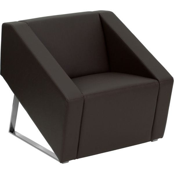 Flash Furniture Smart Series Brown Leather Reception Chair