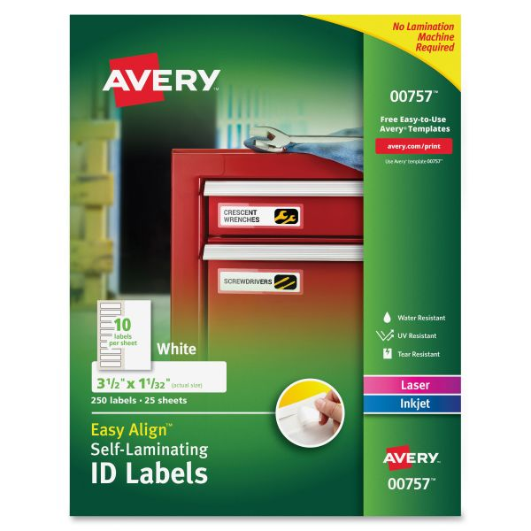 Avery Easy Align Self-Laminating ID Labels, Laser/Inkjet, 1 1/32 x 3 1/2, White, 250