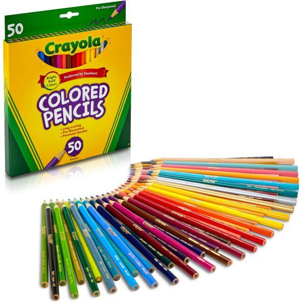 Crayola Long Barrel Colored Woodcase Pencils, 3.3 mm, 50 Assorted Colors/Set