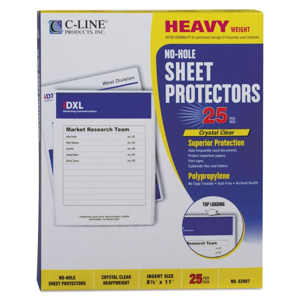 C-Line Top-Load No-Hole Polypropylene Sheet Protector, Letter, Heavyweight, Clear, 25/Box