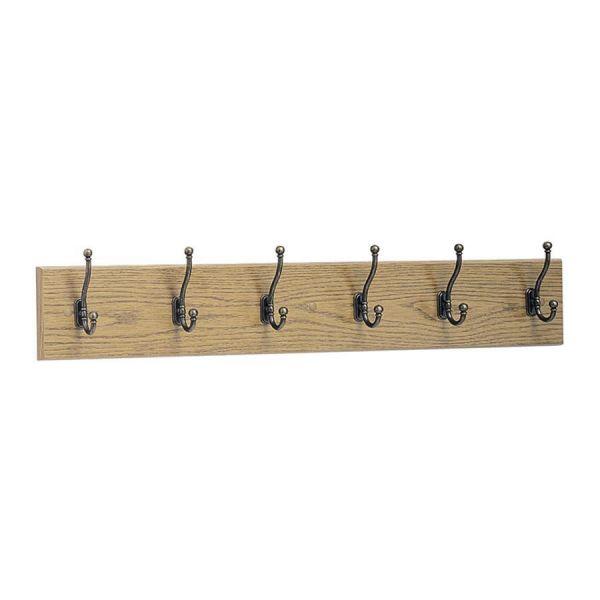 Safco 6-Hook Wood Wall Rack