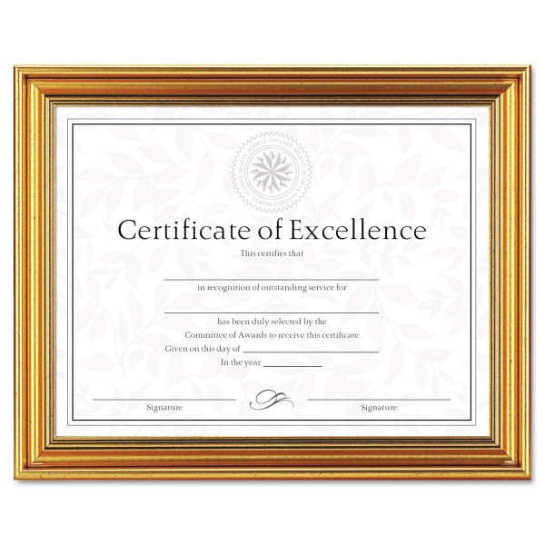 DAX Antique Colored Document Frame w/Certificate, Plastic, 8 1/2 x 11, Gold