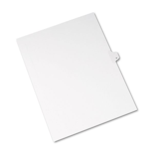 Avery Allstate-Style Legal Exhibit Side Tab Divider, Title: M, Letter, White, 25/Pack