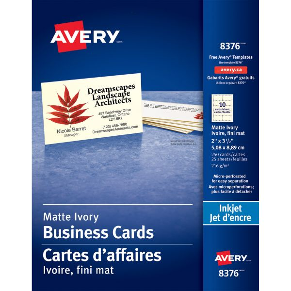 Avery Printable Microperf Business Cards, Inkjet, 2 x 3 1/2, Ivory, Matte, 250/Pack