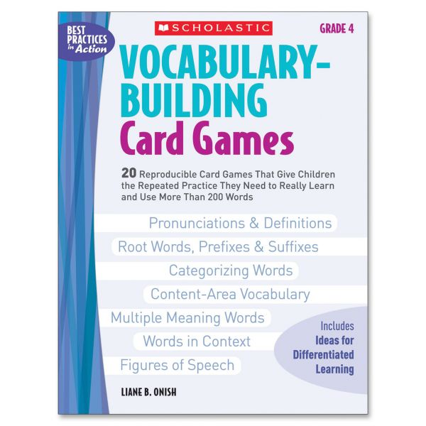 Scholastic Vocabulary Building Card Games, Grade Four, 80 pages