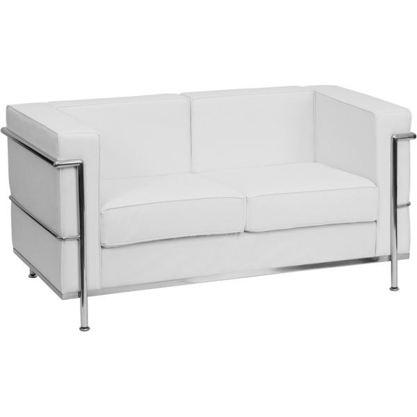 Flash Furniture HERCULES Regal Series Contemporary White Leather Loveseat with Encasing Frame