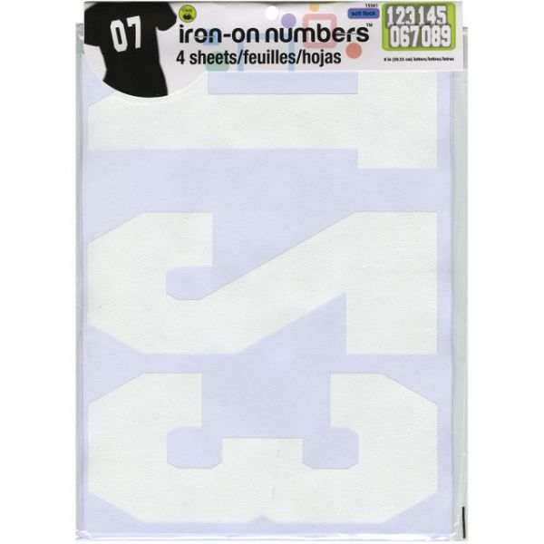 "Soft Flock Iron-On Numbers 8"" Athletic"