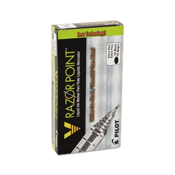 Pilot V Razor Point Liquid Ink Marker Pen, Black Ink, .5mm, Dozen