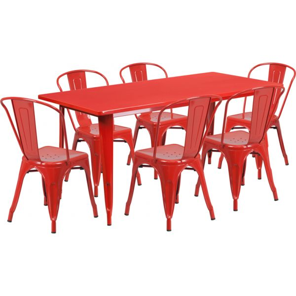 Flash Furniture 31.5'' x 63'' Rectangular Red Metal Indoor-Outdoor Table Set with 6 Stack Chairs