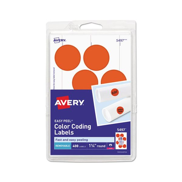 """Avery Printable Removable Color-Coding Labels, 1 1/4"""" dia, Neon Red, 400/Pack"""