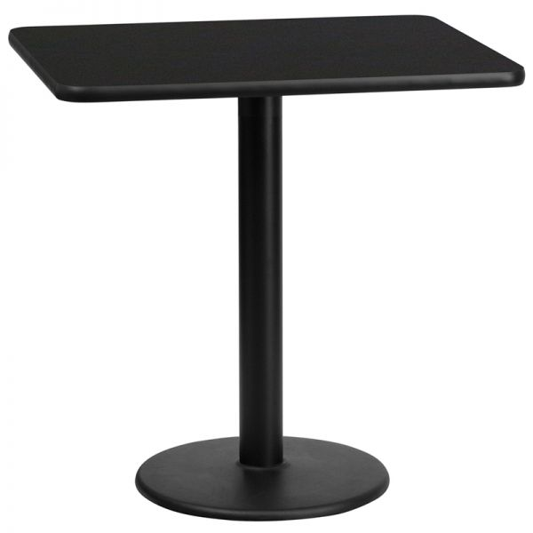 Flash Furniture 24'' x 30'' Rectangular Black Laminate Table Top with 18'' Round Table Height Base
