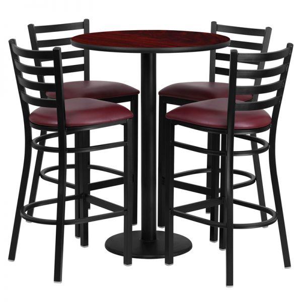 Flash Furniture 30'' Round Mahogany Laminate Table Set with 4 Ladder Back Metal Barstools - Burgundy Vinyl Seat