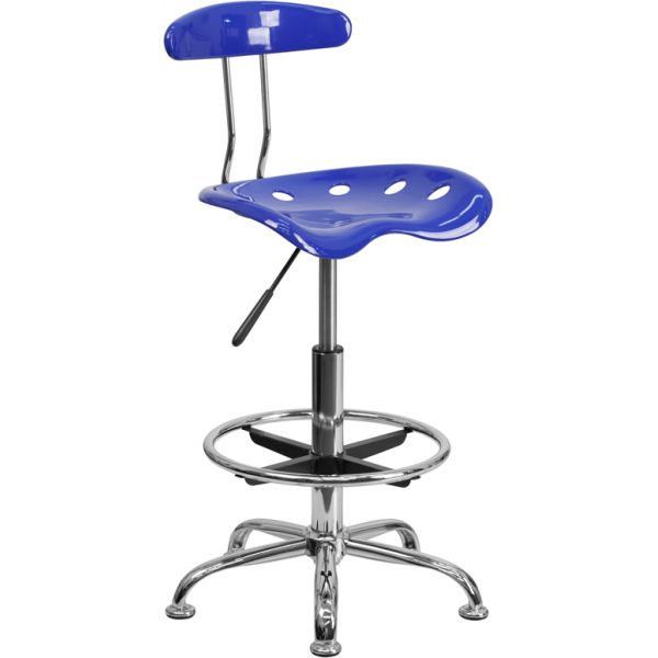 Flash Furniture Vibrant Drafting Stool with Tractor Seat