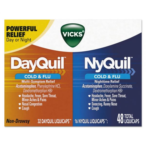 Vicks DayQuil/NyQuil Cold & Flu LiquiCaps Combo Pack, 32 Day/16 Night