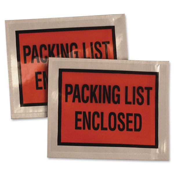Quality Park Full-Print Self-Adhesive Packing List Envelope, Orange, 5 1/2 x 4 1/2, 100/box