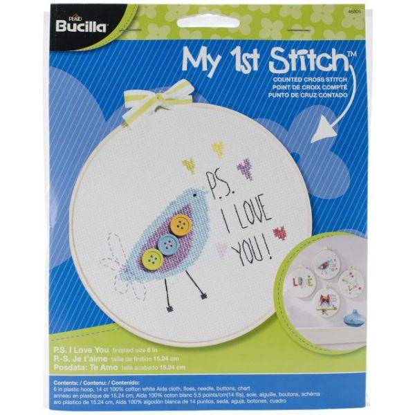 Bucilla My 1st Stitch P.S. I Love You Mini Counted Cross Stitch Kit