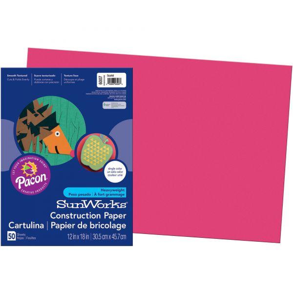 SunWorks Construction Paper, 58 lbs., 12 x 18, Scarlet, 50 Sheets/Pack